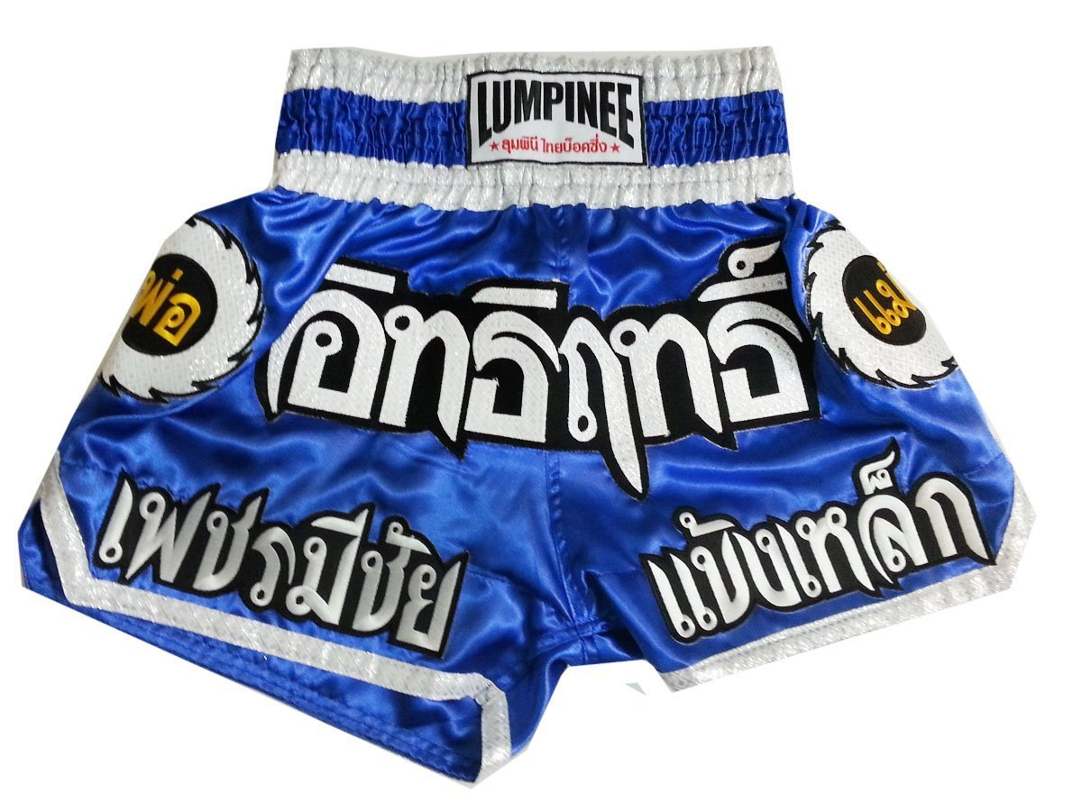 Lumpinee Super Power Series Muay Thai Kick Boxing Shorts Made in Thailand (Blau, L)