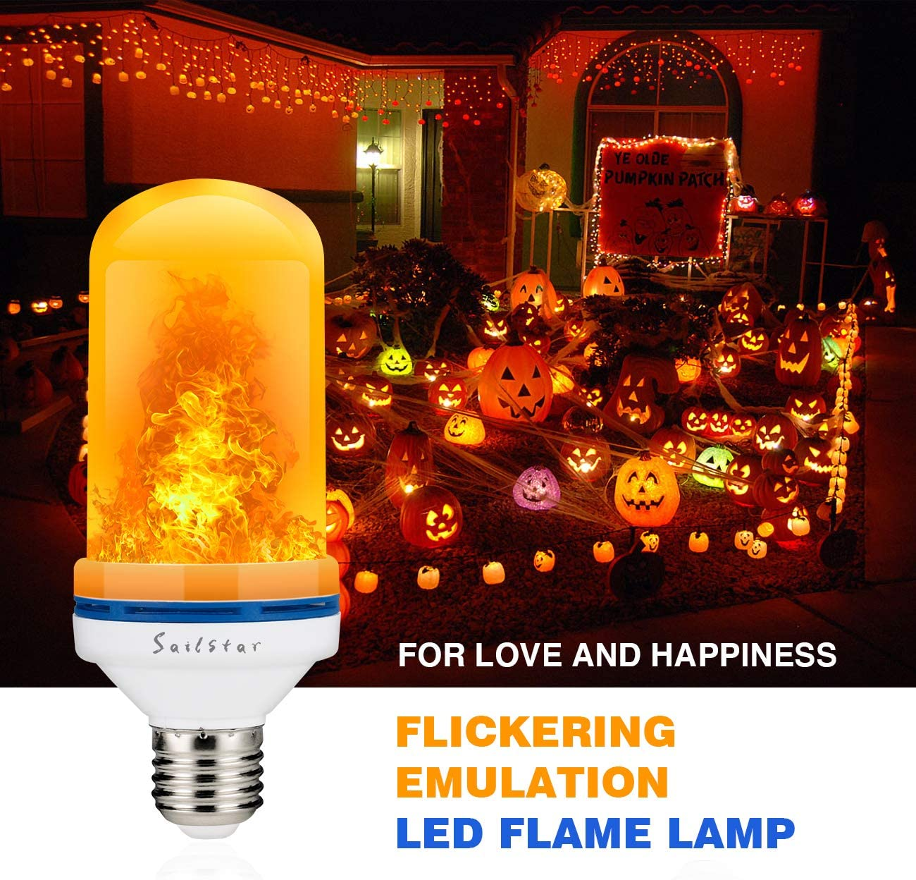 LED Flame Effect Light Bulb Flickering Fire Light Decorative Lamp for Christmas,Party,Bar,Restaurant,Wall Light,Festival Sailstar 4 Watts 1500K Lighting with Standard E26 Base 2-Pack