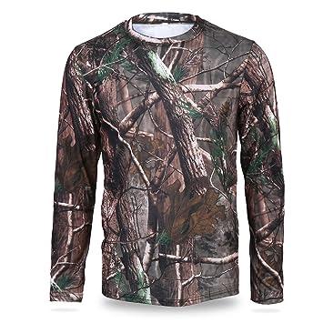 Camouflage T-Shirt Langarm atmungsaktiv Sweatshirt Dschungel Baum Kleidung f/ür Camping Jagd Outdoor-Aktivit/äten