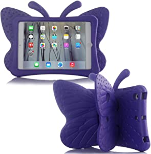 Simicoo iPad 7 8 10.2 3D Cute Butterfly Case for Kids Light Weight EVA Stand Shockproof Rugged Heavy Duty Kids Friendly iPad Cover for Kids iPad 10.2 iPad 7th 8th (Purple)