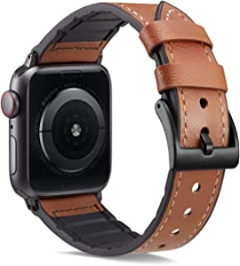 Compatible with Apple Watch Band 38mm 40mm,Genuine Leather and TPU Hybrid Sweatproof Replacement Band for Women Strap Compatible iWatch Series 4 40mm Series 3/2/1 38mm Sport and Edition (Brown)