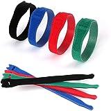 Funshare ケーブル結束バンド ケーブルバンド 収納バンド 薄型 高耐久 強力マジックテープ ストラップ コード配線収納 繰り返し利用可能 50本20CM(4色)