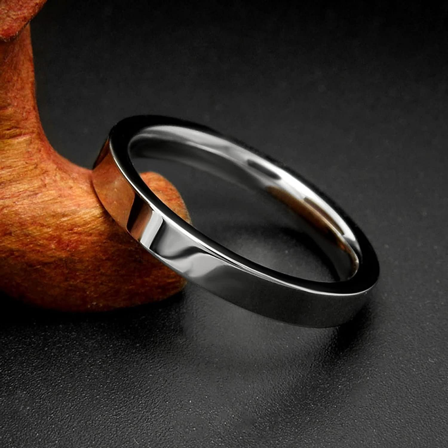 Bishilin Stainless Steel Ring for Men Design 3MM Round Polished Ring Wedding Band Him Silver Rings Rock