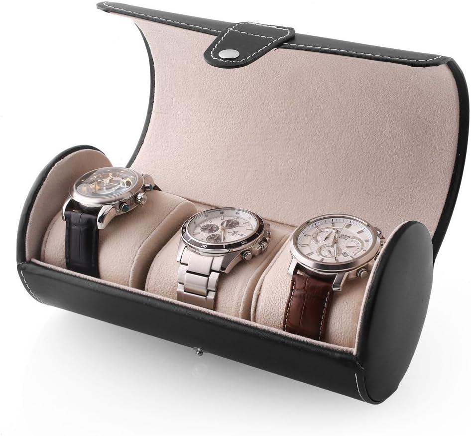 MVPOWER Caja para Relojes Estuche para Guardar Joyerías Soporte de Exhibición de Relojes Pulsera PU Negro (3 Compartimentos): Amazon.es: Hogar