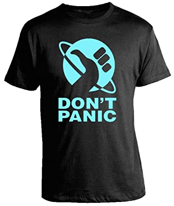 4ce1217efafe5 Hitchhikers Guide To the Galaxy Tees - Don't Panic T-Shirt | Amazon.com