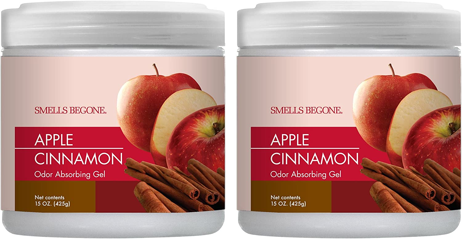 SMELLS BEGONE Air Freshener Odor Absorber Gel - Made with Essential Oils - Absorbs and Eliminates Odor in Pet Areas, Bathrooms, Cars, & Boats - Apple Cinnamon Scent - 2 Pack