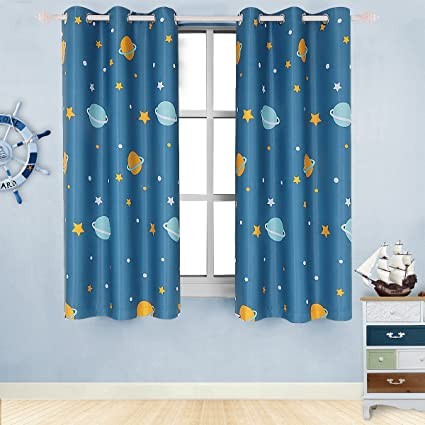 Room Darkening Kids Curtains For Bedroom Cute Planet Printed With Twinkle Star Patterns