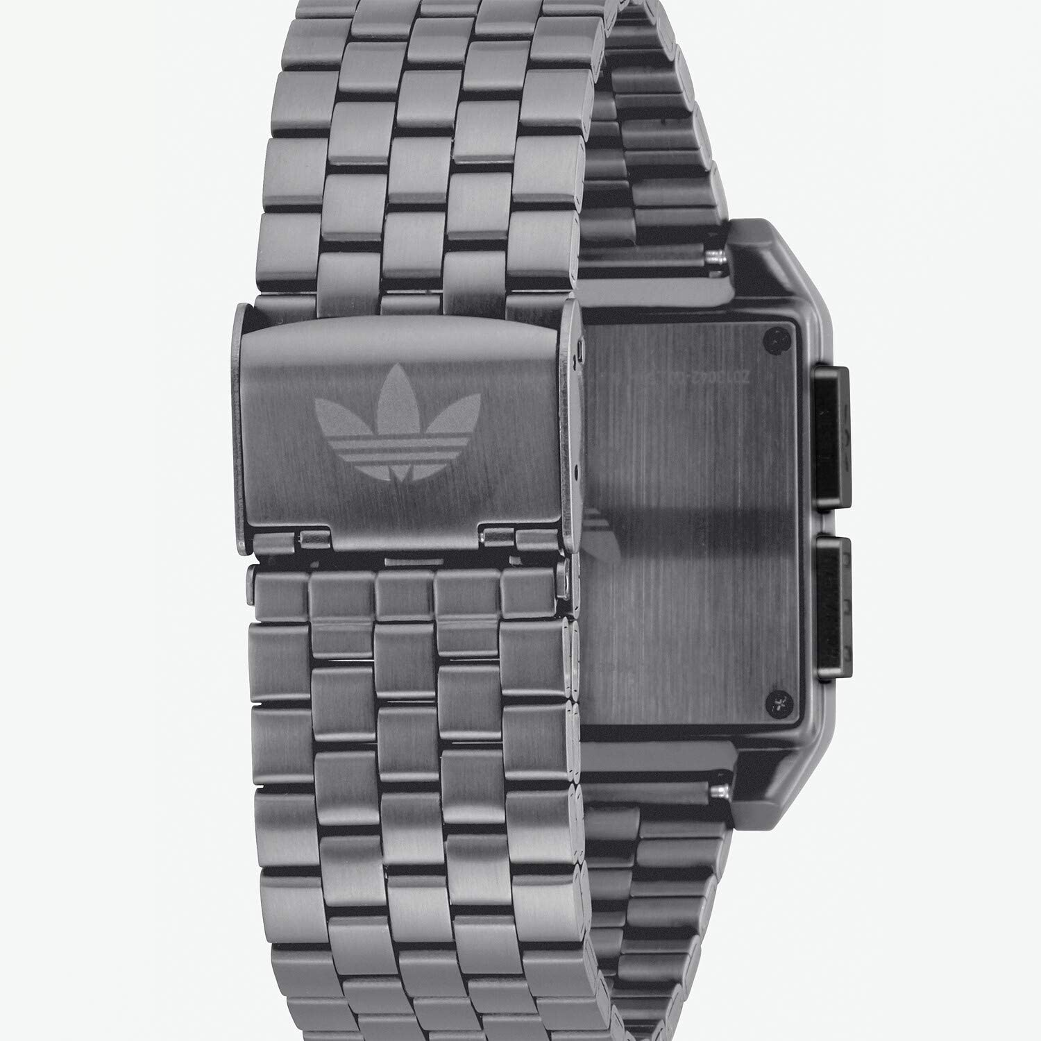 Adidas Watches Archive_M1. Men's 70's Style Stainless Steel Digital Watch with 5 Link Bracelet (36 mm). Gunmetal / Black