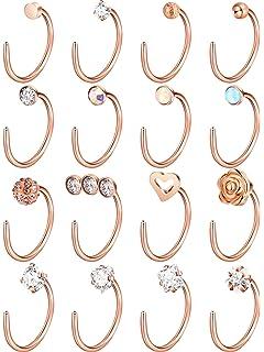 4d80b87d7 Jovitec 16 Pieces Nose Stud Set Nose Studs Cartilage Tragus Piercing Rose  Ball Labret Jewelry,