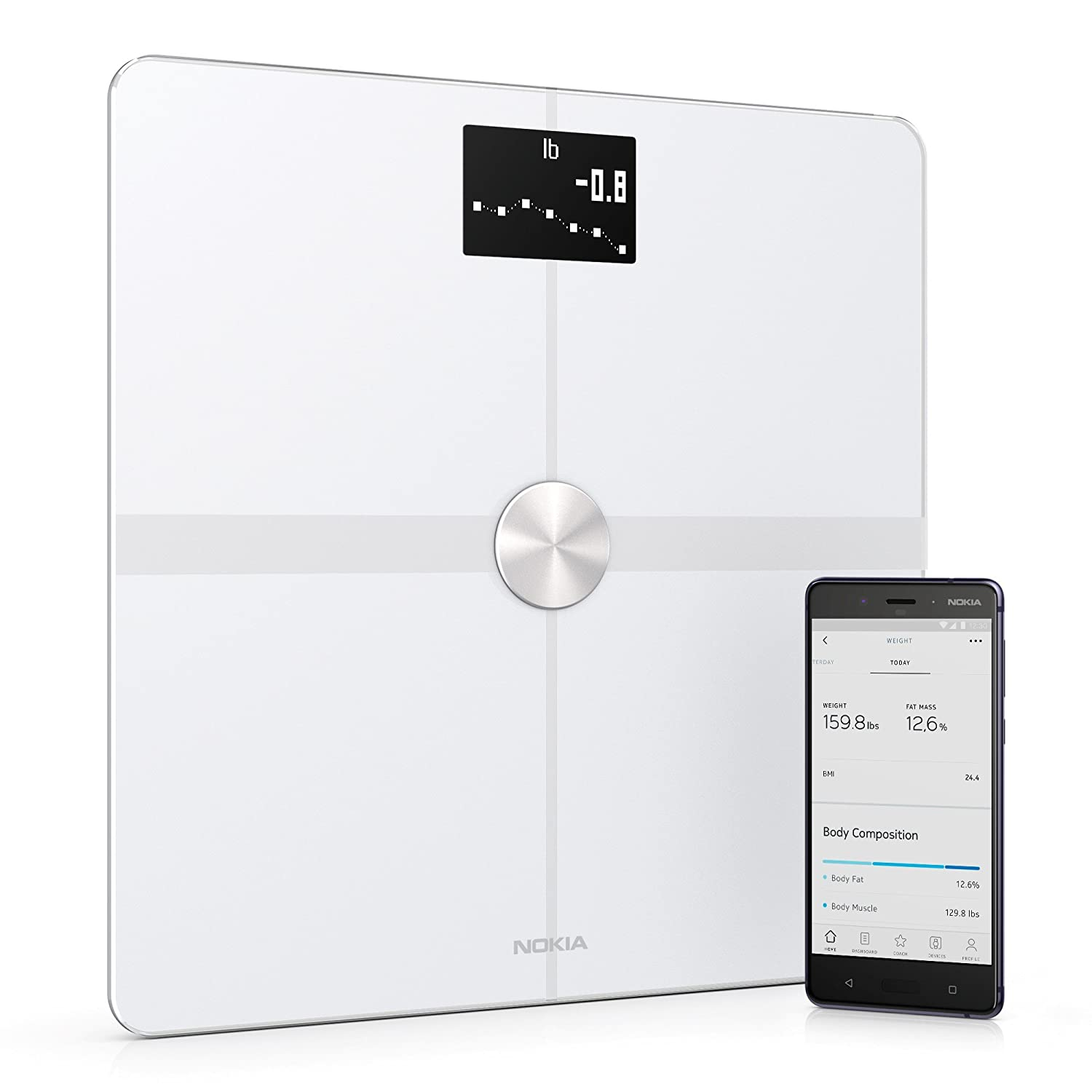 Withings / Nokia | Body+ - Smart Body Composition Wi-Fi Digital Scale with smartphone app, White Withings Inc WBS05-White-All-Inter