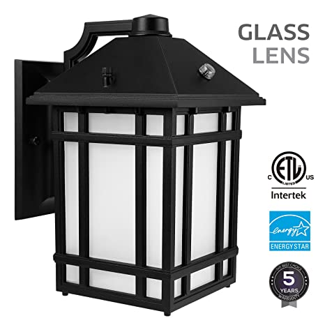 led outdoor wall lantern with dusk to dawn photocell 14w 60w equiv