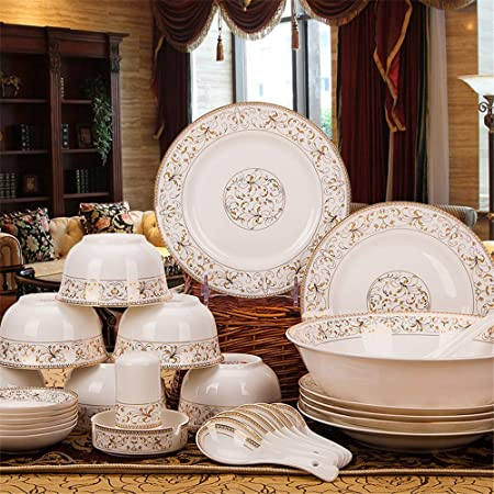 LIANWEIZHENG Vajilla de cerámica Plato de arroz Placa ...