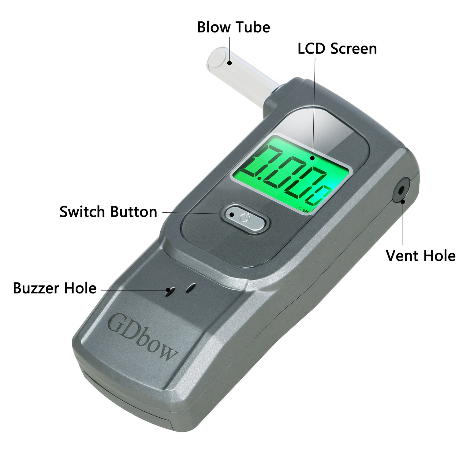 GDbow PortableBreathalyzer AlcoholTester Recording 32 Testing Results with 5 Mouthpieces for Personal Use -Grey by GDbow (Image #5)