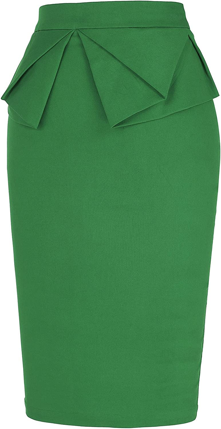 GRACE KARIN Womens Wear to Work Stretchy Ruffled Office Pencil Skirt