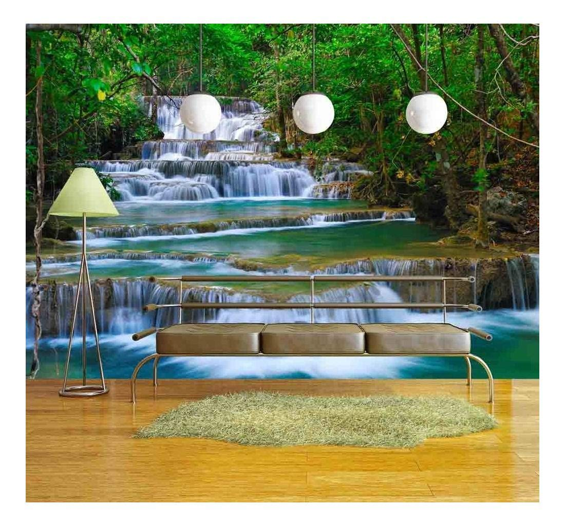 wall26 - Deep Forest Waterfall in Kanchanaburi, Thailand - Removable Wall Mural | Self-Adhesive Large Wallpaper - 100x144 inches by wall26 (Image #1)