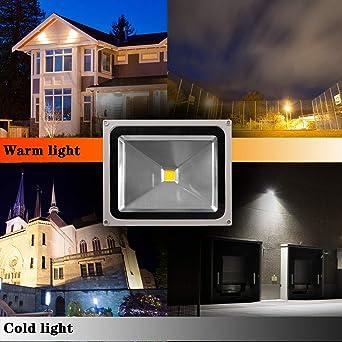 CCLIFE 30w 50W LED con Sensor de Movimiento,50w-150W Floodlight Led Foco Proyector Led para Exterior Iluminación Decoración, Color:Blanco Frio, Tamaño:50W Led Foco: Amazon.es: Iluminación