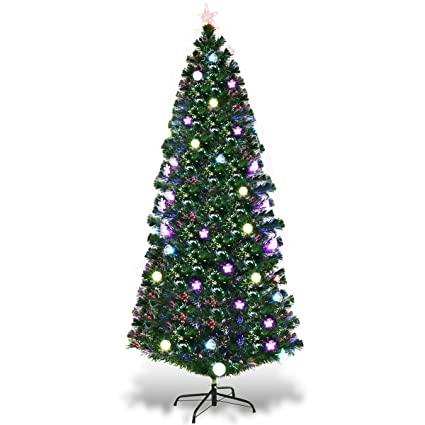 e55075fb79d2 Image Unavailable. Image not available for. Color: Goplus 7.5FT Fiber Optic  Christmas Tree Pre-Lit Artificial Fireworks Spruce Tree w/