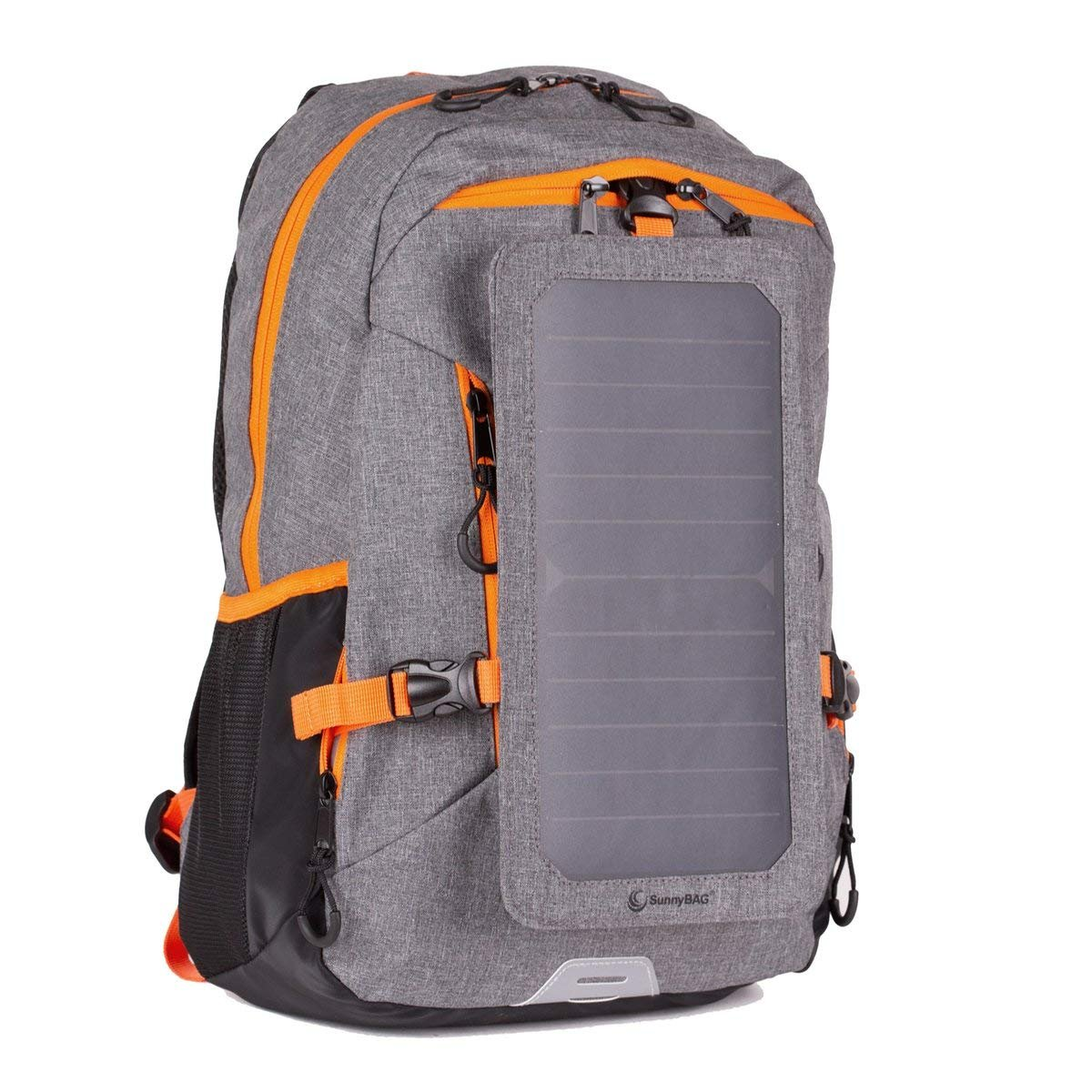 Backpack with Solar-Panel by SUNNYBAG Explorer+   solarbag Solar Charger   World's Strongest solarpanel for Smartphone Charging on The go   Grey/Orange