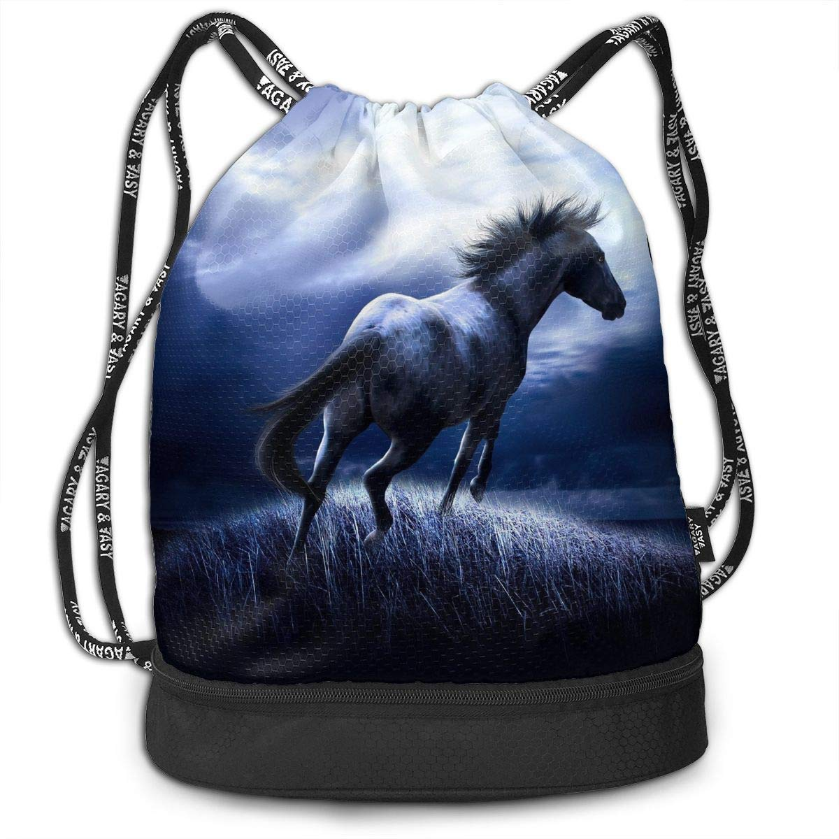 Drawstring Backpack Horse And Moon Gym Bag