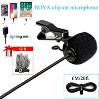 BOYA DM1 Lavalier Mikrofon Revers Clip-on Mic mit Lightning-Anschluss IOS Interface für IOS iPhone X 8 7 6 Plus iPad iPod Nano Touch Verwendung für Youtube, Interview, Podcast,Vlog