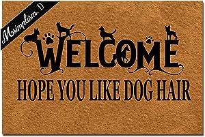 Msimplism.D Home Decor Funny Doormat Welcome Hope You Like Dog Hair Monogram Doormat Indoor Outdoor Rubber Welcome Mat Non-Slip Backing Entry Way Doormat 23.6 x 15.7 Inch