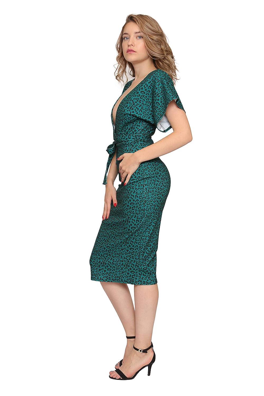 Aarzoo Vestito Midi Elegante Leopardato Donna