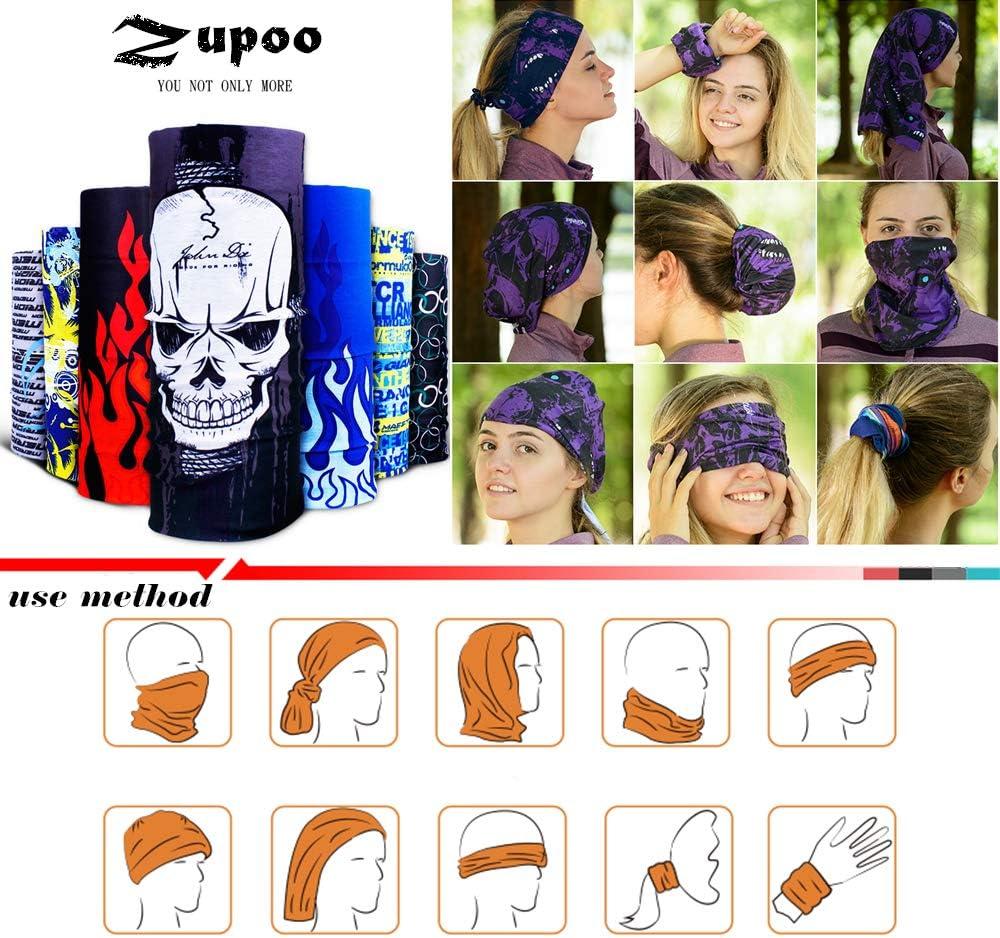 Zupoo 1PCS//6PCS 16-in-1Multifunctional Headband Sports Magic Scarf,Face Sun Mask,Neck Gaiter,Balaclava Headwear,Bandana,for Hiking Running,Cycling,Yoga,Fishing,Hunting,Skiing,Leopard Series