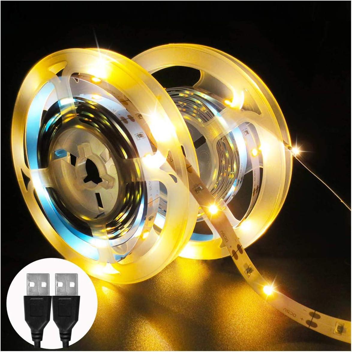 2 Paquetes Tesfish Tiras de Luces LED, 2 x 3M Total 180 LEDs 5V USB Blanco Cálido Tira de luz 3000K Luces de Cuerda para Bricolaje, TV, Armario, Estante, Decoración del Hogar