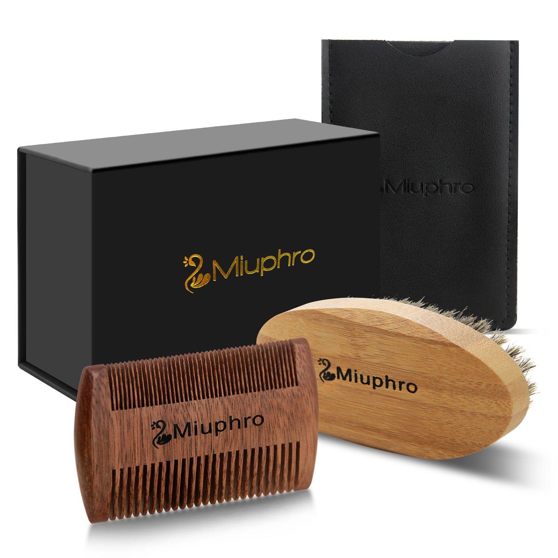 Set per la Cura Della Barba, Miuphro Pettine per la barba + Spazzola da barba in setola di cinghiale, per la cura quotidiana della barba, Regalo Perfetto per Gli Uomini