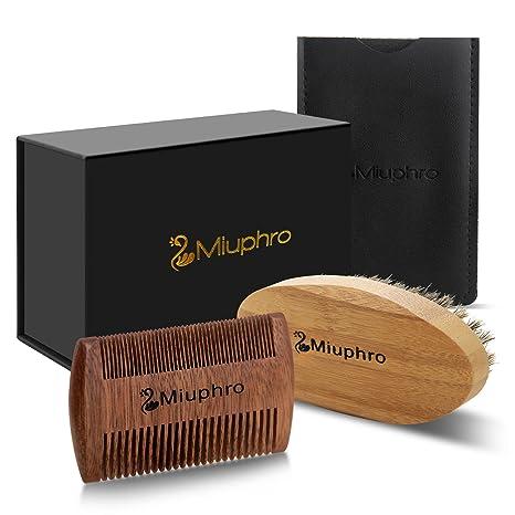 Cepillo para Barba Y Peine para Barba kit – Miuphro Set De Peine De Madera Hecho
