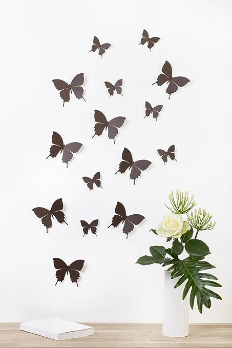 """63 opinioni per Bilderdepot24 """"Farfalle 3D""""- MARRONE SCURO- Set di 15 pezzi con punti biadesivi"""