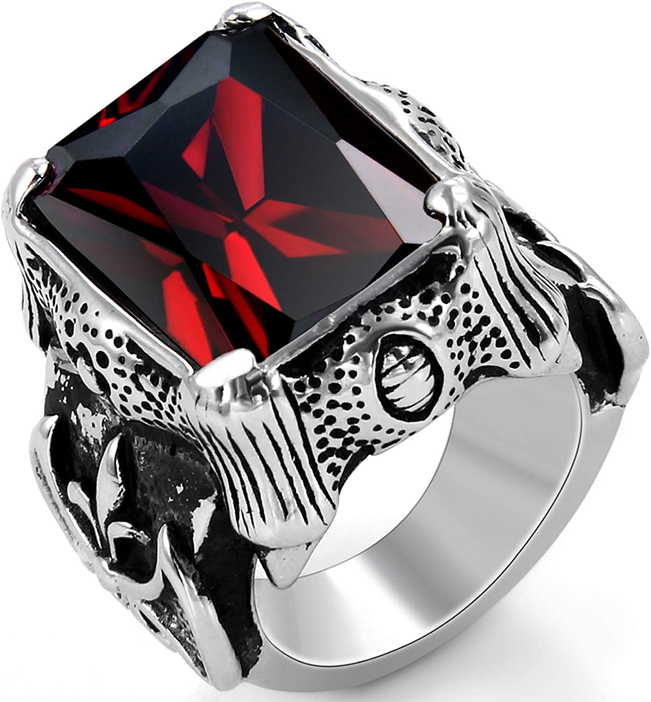 bis 71 Schwarz Silber Ehering Nordischer Krieger Biker Rot Zirkon Herren Verlobungsring OIDEA Vintage Edelstahl Ringe 17.2 22.6 Ringgr/ö/ßen 54