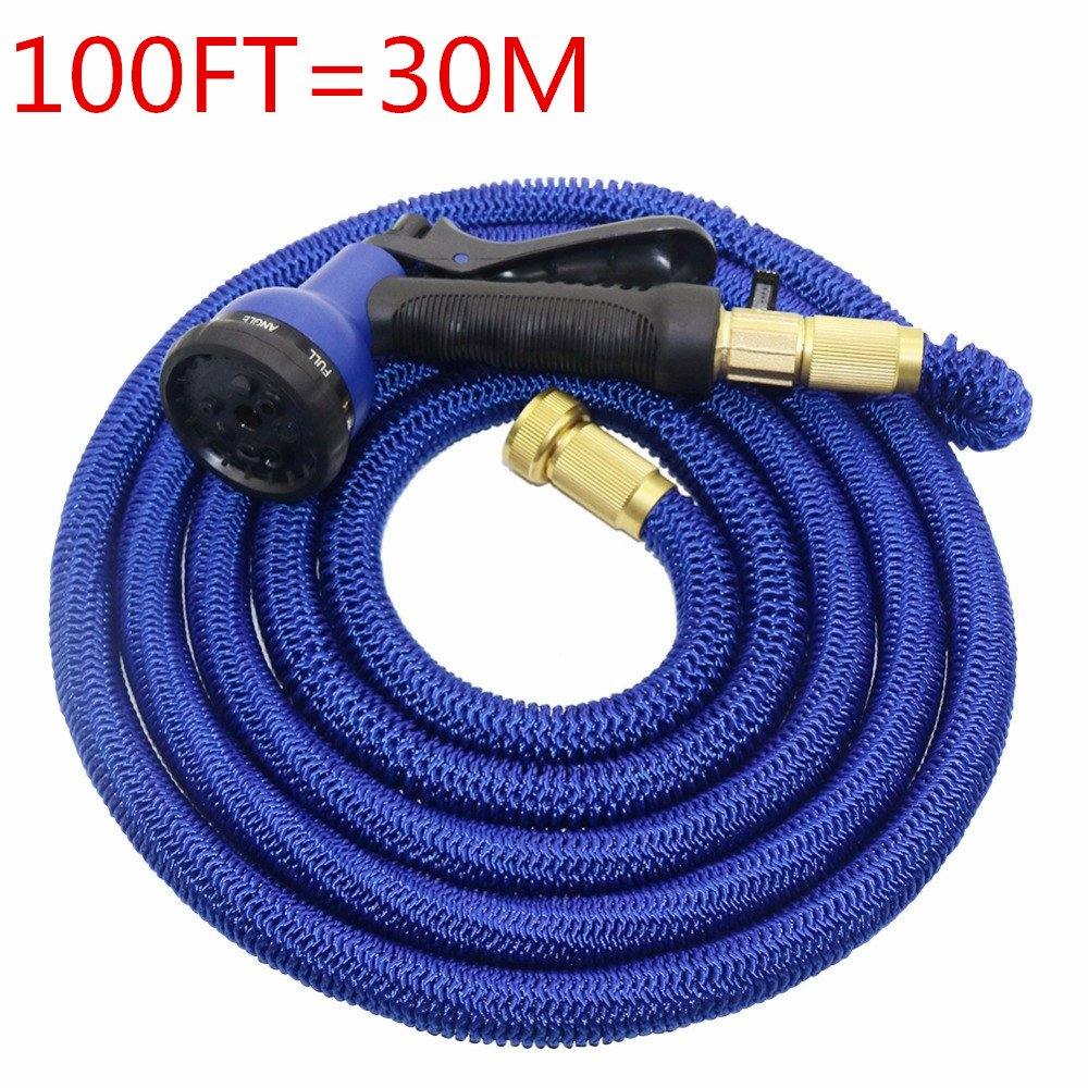 Businda Flexible Garden Hose 100FT, Expandable Magic Hose Collapsible Powerful 8 Pattern Spray Nozzle High Pressure Power Washer for Outdoors or Your Yard