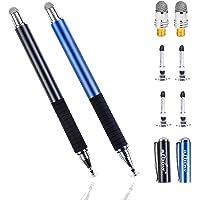 aibow タッチペン スマートフォン タブレット スタイラスペン iPad iPhone Android 2本+ペン先6個 (ブラック+ブルー)