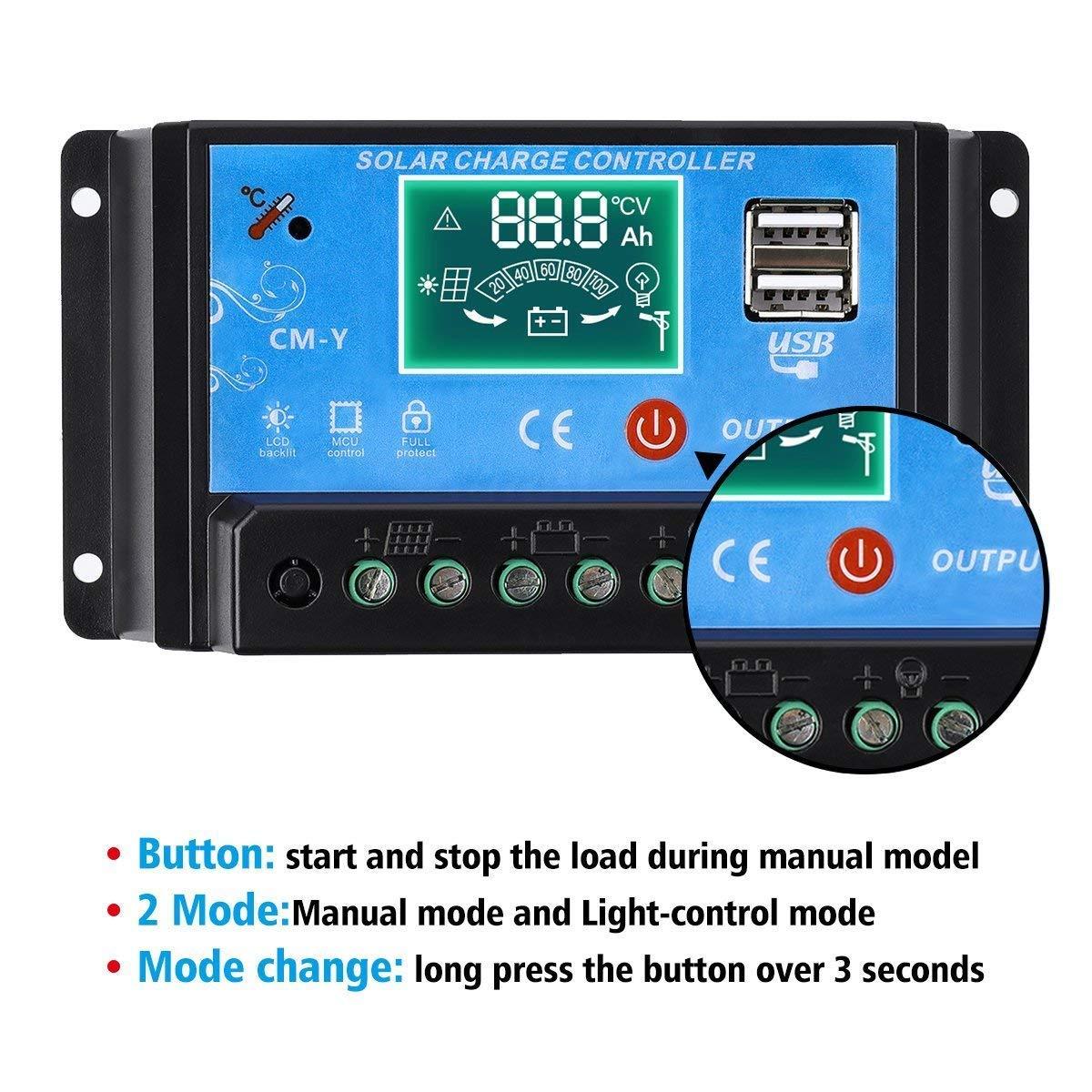 Mohoo R/égulateur de charge solaire intelligent avec /écran LCD Dual USB Port PWM 12 V 24 V