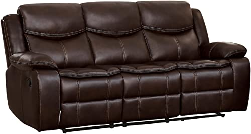 Homelegance 88 Manual Double Reclining Sofa, Brown