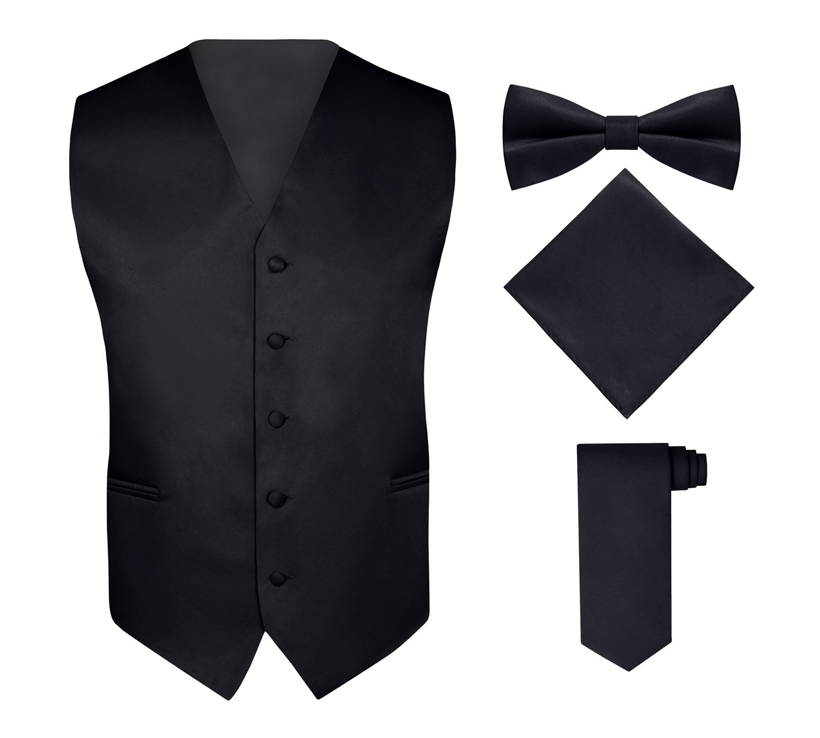 S.H. Churchill & Co. Men's 4 Piece Vest Set, with Bow Tie, Neck Tie & Pocket Hankie - Black, XL