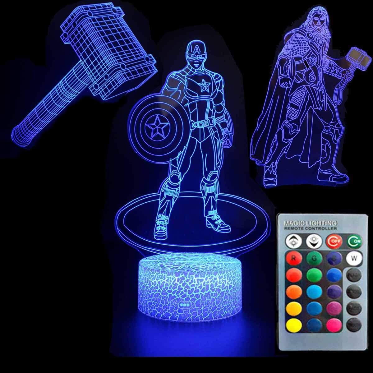 3D Illusion Avengers Super Hero Night Light Three Pattern Captain America/Thor/Thor's Hammer 7 Color Change Decor Lamp Desk Table Night Light Lamp for Kids Children