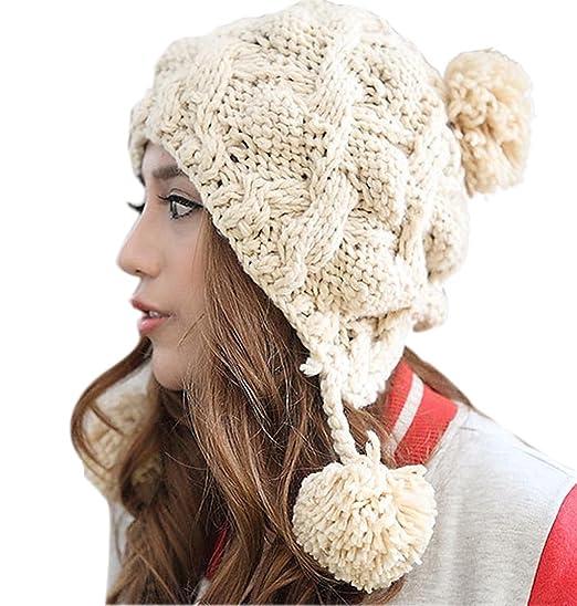 acbdb57aea0 BIBITIME Winter Warmer Hanging Pom Pom Earmuff Beanie Hat Knitted Woolen  Cap Ski (One Size