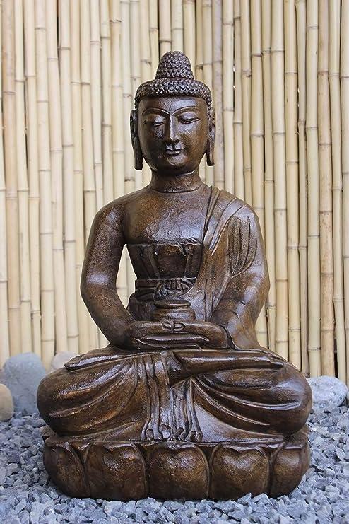 Asia Lifestyle - Fuente de jardín de Buda (60 cm), de piedra con aspecto de madera: Amazon.es: Jardín