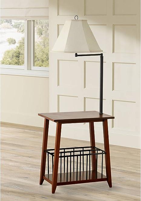 Seville Mission Floor Lamp End Table Swing Arm Oak Wood Bronze Off White Linen Shade For Living Room Reading Bedroom Office Regency Hill