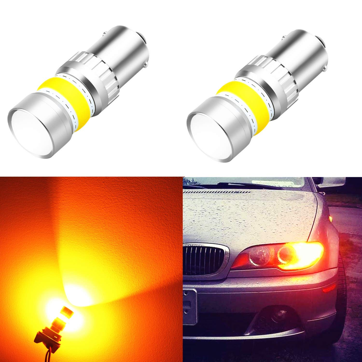 Alla Lighting 1156 LED Turn Signal Light Bulbs 2800lm Xtreme Super Bright BA15S 7506 1156 LED Bulbs High Power COB 72-SMD LED 1156 Bulbs for Turn Signal Light Lamp Replacement, Amber Yellow