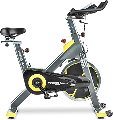 Stationary Exercise Bike with 45Lbs Flywheel – Belt Drive Indoor Cycling Bike with Ipad Holder and LCD Monitor for Home Workout, 330 Lbs Weight Capacity