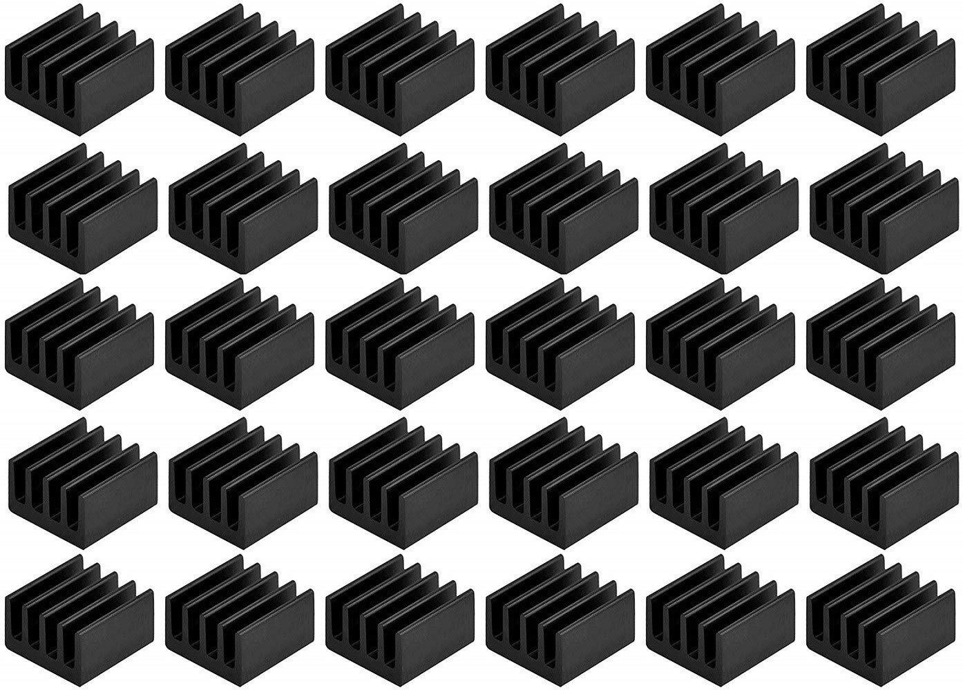 8.8mmx8.8mmx5mm Easycargo 30pcs Small Mini Heatsink Kit Mini Cooler Heat Sink for Cooling VRM Stepper Driver MOSFET VRam Regulators