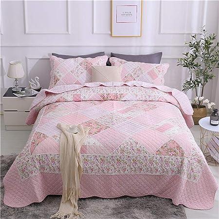 ADGAI Colchas Cama 135 Rosa Estampada 3 Piezas Colcha Bouti Reversible Lavable de 100% algodón Suave y Cómodo 230x250cm: Amazon.es: Hogar