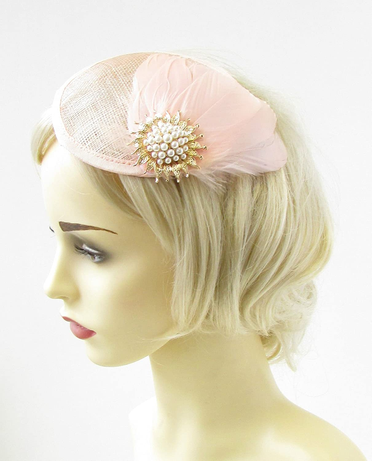 Blush Pink Gold Ivory Feather Fascinator Wedding Races Hair Clip Hat  Vintage 974  EXCLUSIVELY SOLD BY STARCROSSED BEAUTY   Amazon.co.uk  Beauty 87ffb9c4717b