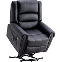 Advwin Electric Lift Recliner Chair with Massage and Heat, PU Leather Lounge Sofa Chair USB - Black