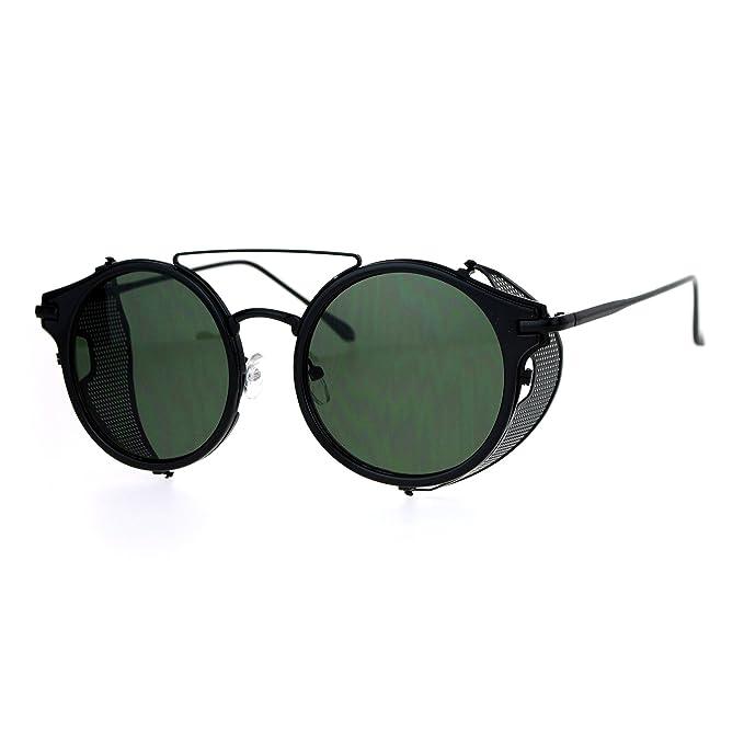 77e3660c49 SA106 Steam Punk Vintage Folding Side Visor Round Pilot Sunglasses All Black