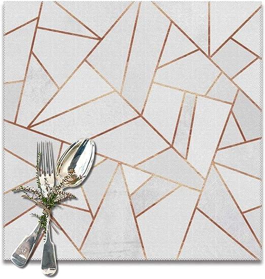 Lilyo-ltd - Manteles Individuales Lavables para Mesa de Comedor, Piedra Blanca, líneas de Cobre, Juego de 6, 12 x 12 Pulgadas: Amazon.es: Hogar