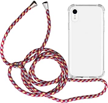 Carcasa Transparente TPU Silicona Case con Colgante Ajustable Collar Correa de Cuello Cord/ón para iPhone 11 Rosa roja AROYI Funda con Cuerda para iPhone 11